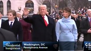 President Donald Trump And Family Walk Parts Of Inaugural Parade Route