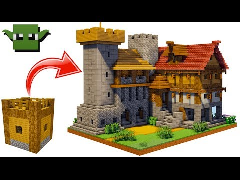 Minecraft Medieval Fortified House Tutorial (EASY 5X5 BUILDING SYSTEM)