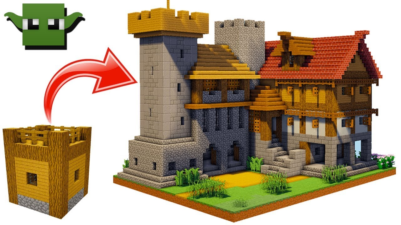 Minecraft Medieval Fortified House Tutorial  Easy 5x5 Building System