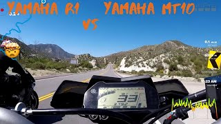Yamaha R1 vs Yamaha MT10 Highway battle!! racing!!!