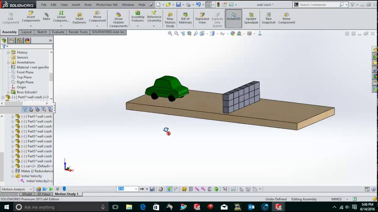 Toy car crash test in SolidWorks Motion - YouTube