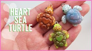 Tutorial: Heart Sea Turtle polymer clay charms || Collab with Heather Wells
