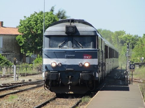 France: Nantes - Bordeaux area Class BB 67400 SNCF diesel locomotives on Intercités passenger trains