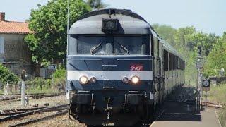 France: Nantes - Bordeaux area Class BB 67400 SNCF diesel locomotives on Intercités passenger trains