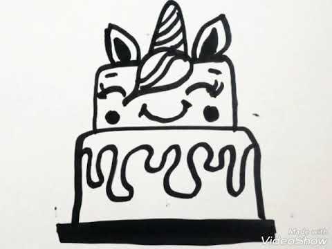 Cómo Dibujar Un Pastel De Unicornio Paso A Paso Fácil Youtube