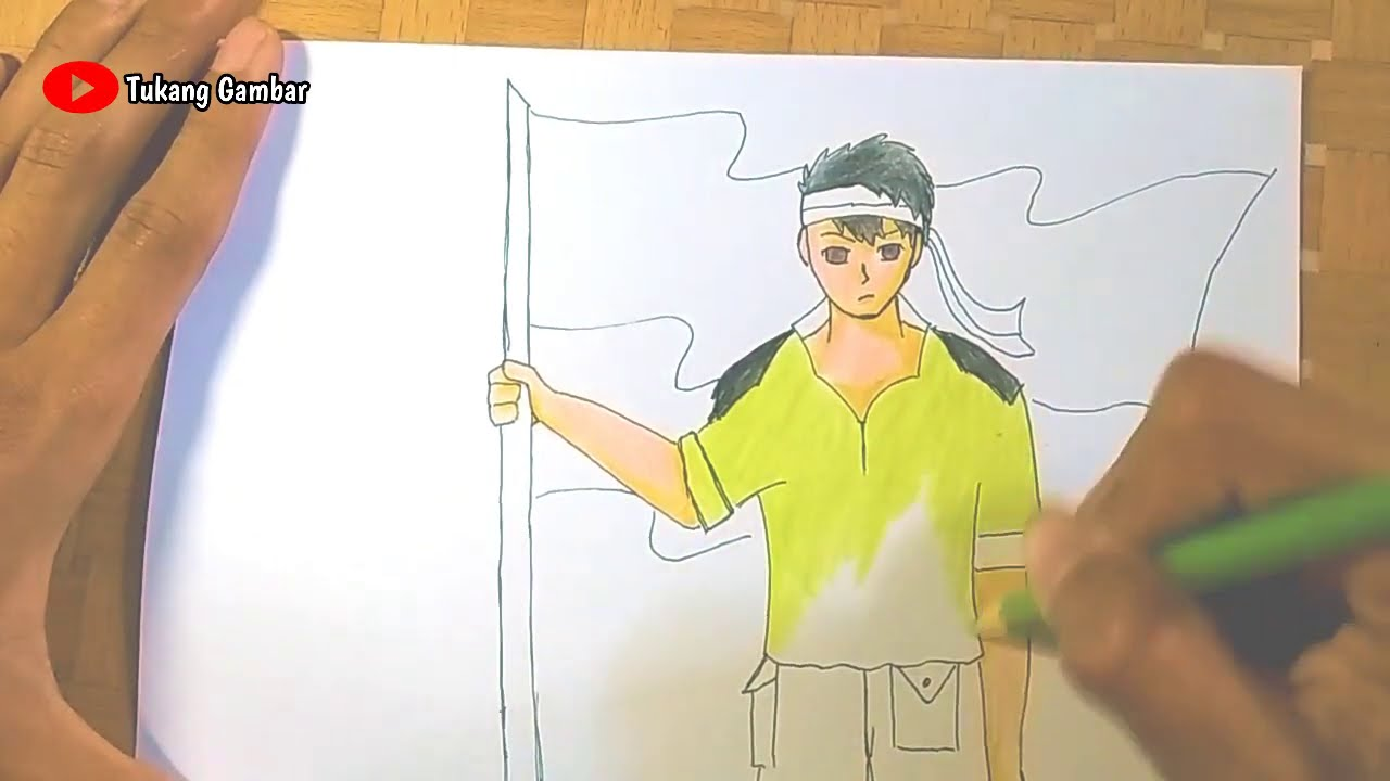 Cara Menggambar Tangan Menggenggam Bendera Mudah How To Draw Hand Simple Draw Hari Pahlawan Youtube