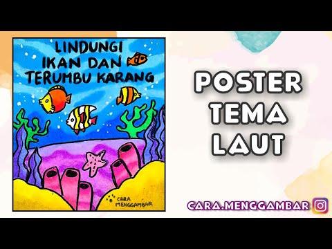 Cara Menggambar Membuat Poster Tema Pelestarian Ikan Dan Terumbu Karang Yang Mudah Ditiru Ep 255 Youtube