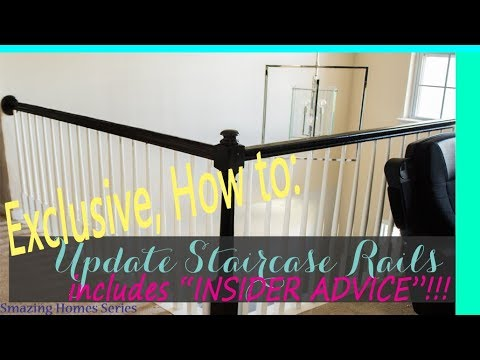 DIY: How To Stain Handrails: Updating Staircase: Smazing Home Series 1 -