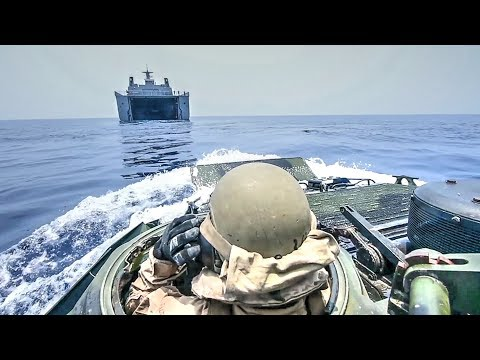 US Marines Assault Amphibious Vehicle Boards Philippine Navy Landing Platform Dock