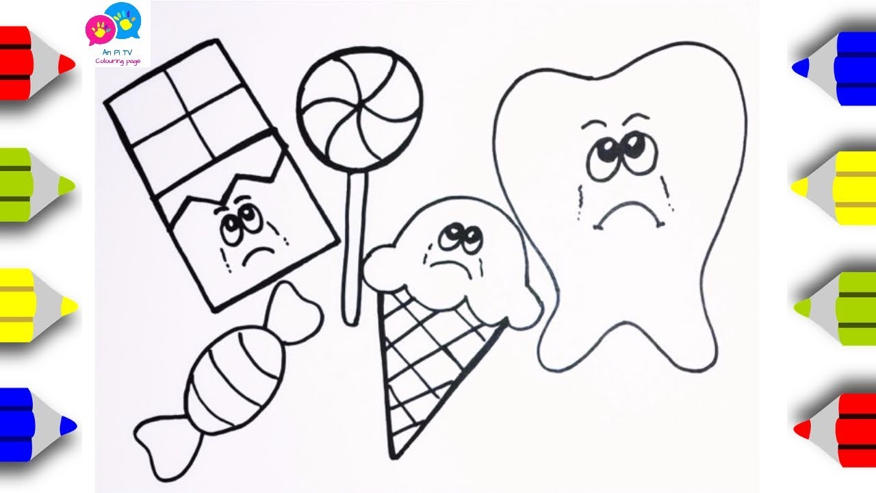 Draw Bad foods for Teeth - Sad Tooth - An Pi TV Coloring