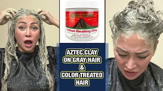 AZTEC CLAY HAIR MASK ON NATURAL GRAY HAIR AND COLOR TREATED HAIR DEMO AND RESULT CLAY BENEFITS