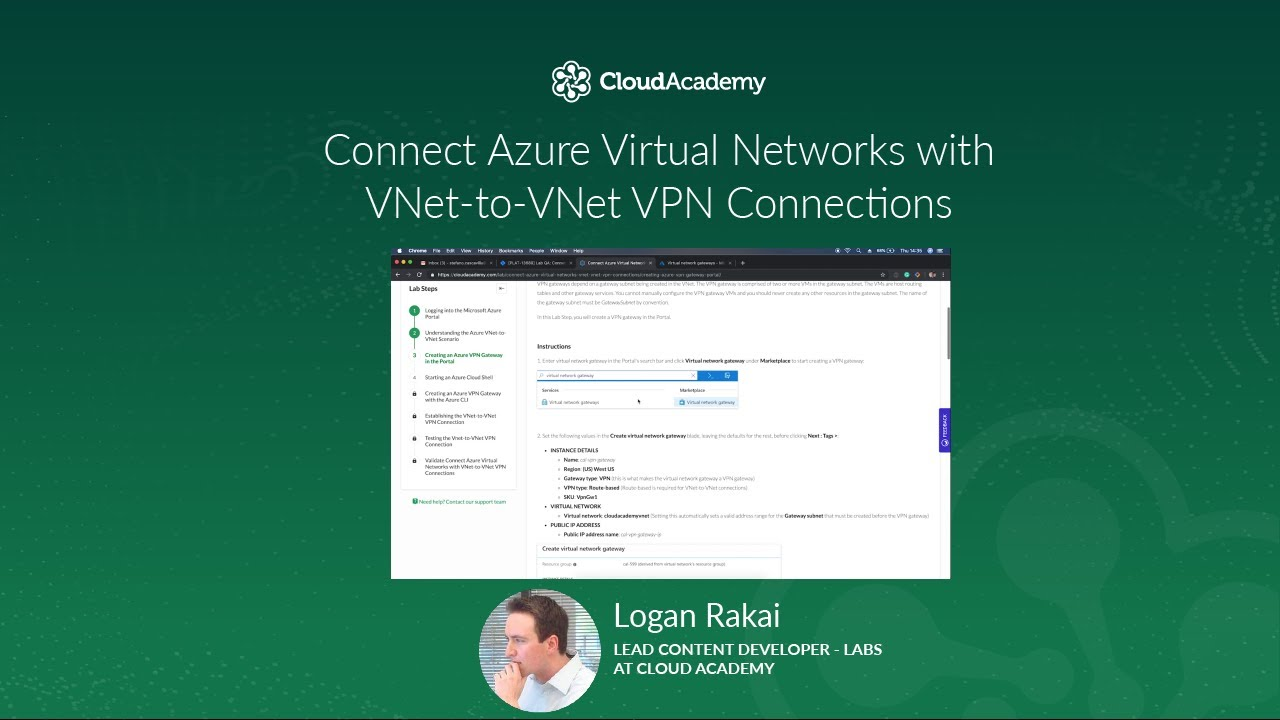 Connect Azure Virtual Networks with VNet-to-VNet VPN Connections - Hands-on  Labs