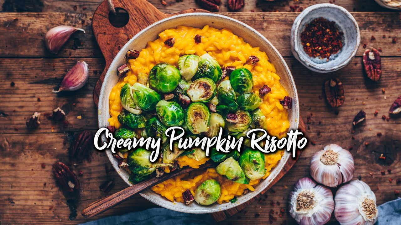 Vegan Pumpkin Risotto with Brussel Sprouts (easy, gluten-free) * Recipe