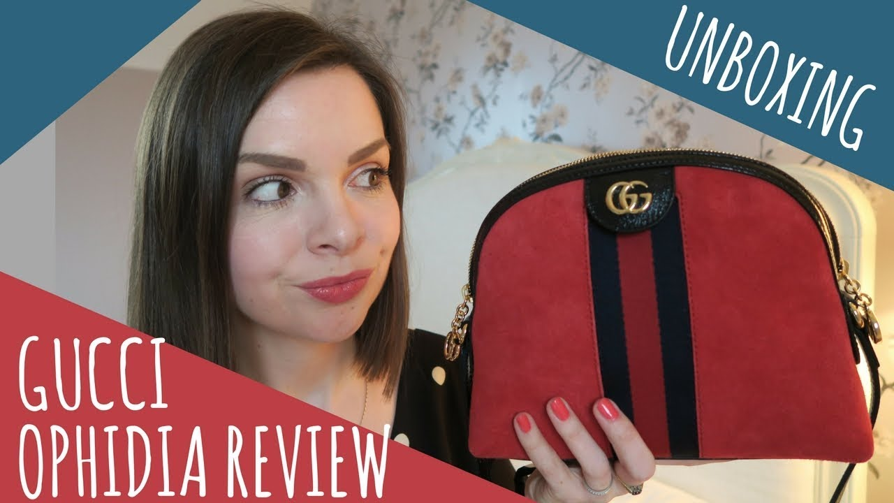 9daa93fb494873 GUCCI OPHIDIA GG RED SHOULDER BAG / UNBOXING & REVIEW / WHAT FITS INSIDE