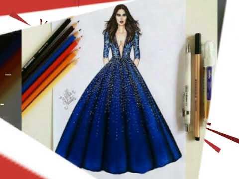 Những mẫu bản vẽ thiết kế thời trang🌼 The designs of beautiful blue fashion design