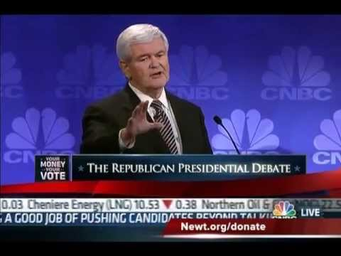 Newt Gingrich Owns Maria Bartiromo of CNBC, Media, Occupy Wall Street & Obama 11-9-11