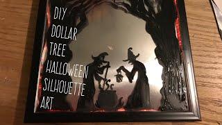 DIY Dollar Tree Halloween Lighted Silhouette Glass Painting Art Decor