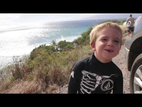 Youngest kid to surf Honolua Bay...Baby Steve Roberson 4 years old! Sept. 23rd 2012