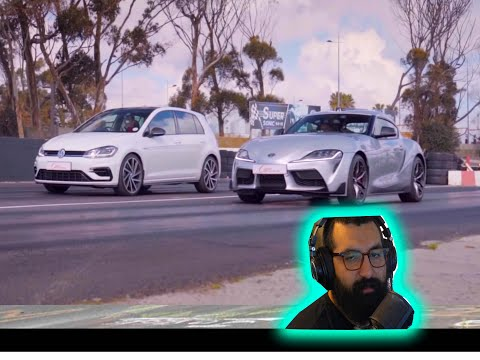 2019 GOLF R BEATS 2020 TOYOTA SUPRA IN A DRAG RACE (REACTION VIDEO) OH MY