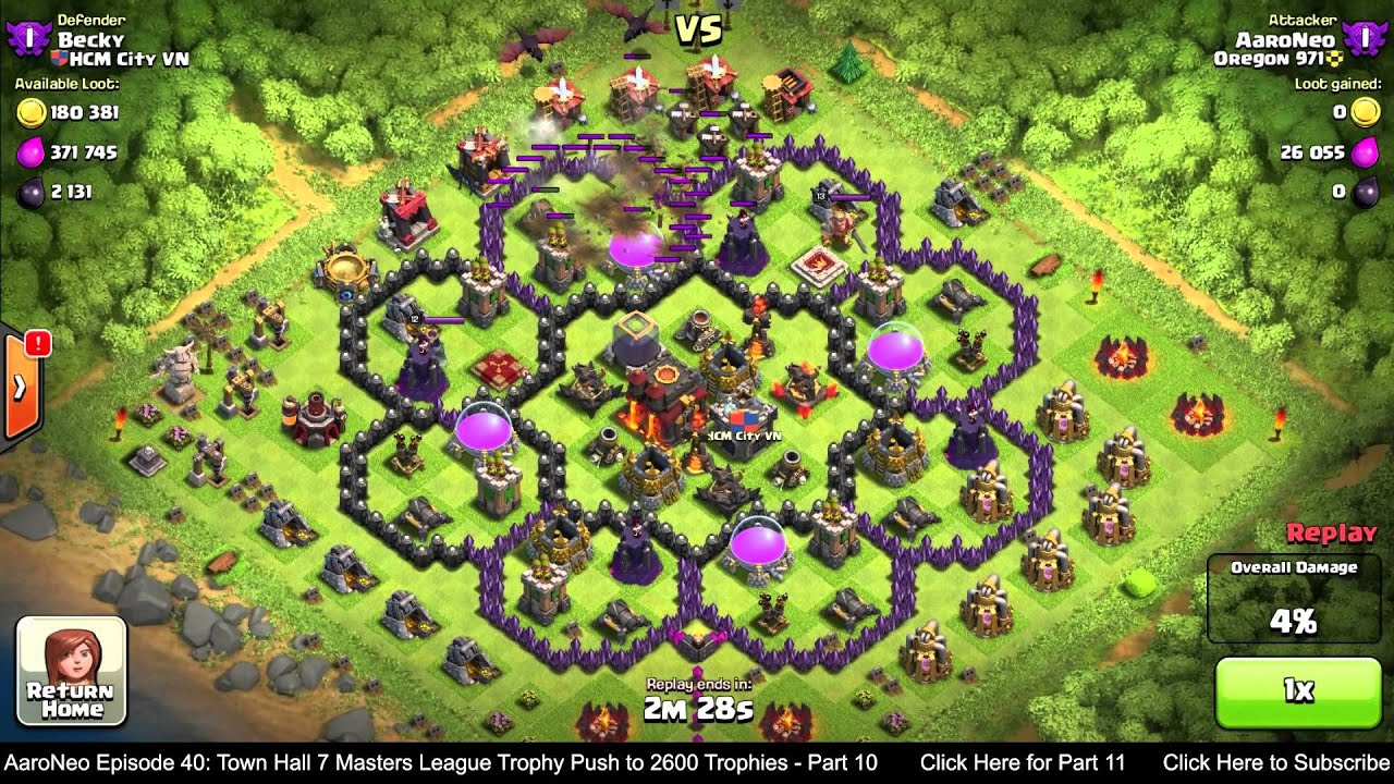 Town hall level 7 th7 masters league trophy push part 10 dragons