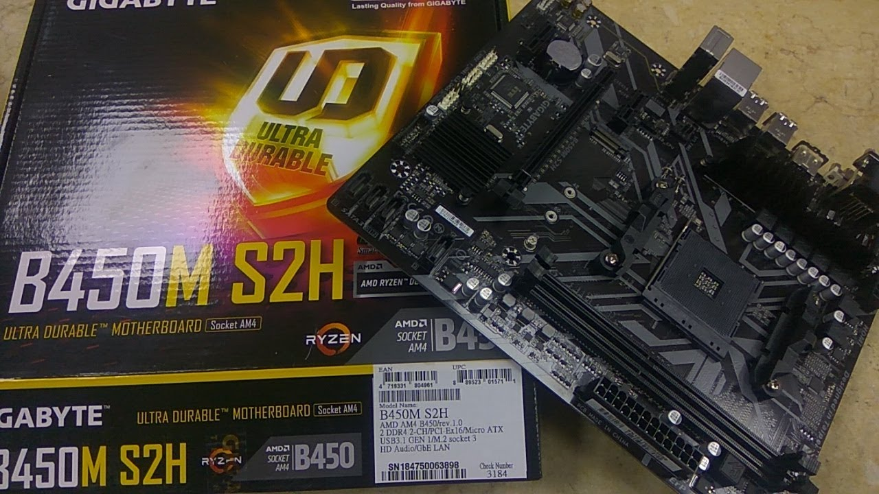 B450M S2H Gigabyte Ultra Durable 8th Gen Motherboard Unboxing