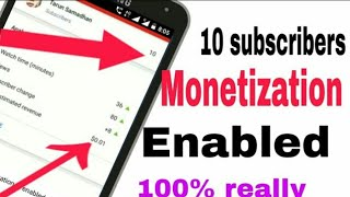 10 subscribers and monetization On | monetize on kese kare without 1000 subscriber & 4000 time