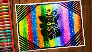 Ganesha Chathurthi Special Creative Drawing Using Oil Pastel Step by Step Tutorial  Sanjay m Arts  