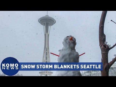 Seattle snow storm blankets city