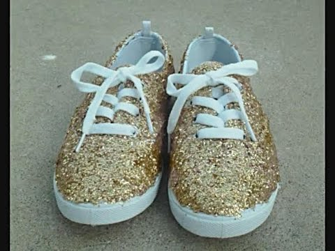 9772fe31aee7 DIY  Glitter Shoes - YouTube