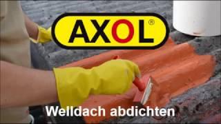 Dachbeschichtung zum Sanieren von Welldachern. Abdichten von Rissen in Wellplatten mit AXO ...