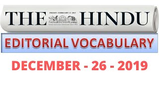 26-12-2019 || HINDU EDITORIAL VOCABULARY ANALYSIS TODAY IN TAMIL || HINDU EDITORIAL ANALYSIS