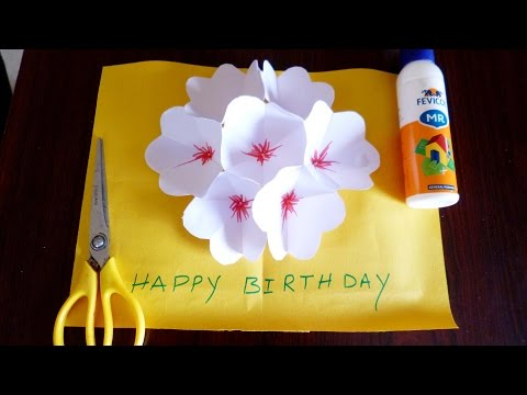 3d flower pop up greeting card making paper art a quick and easy way to make a great pop up card for someone special in your life 1 fold in half width wide and then tear all four papers in half mightylinksfo