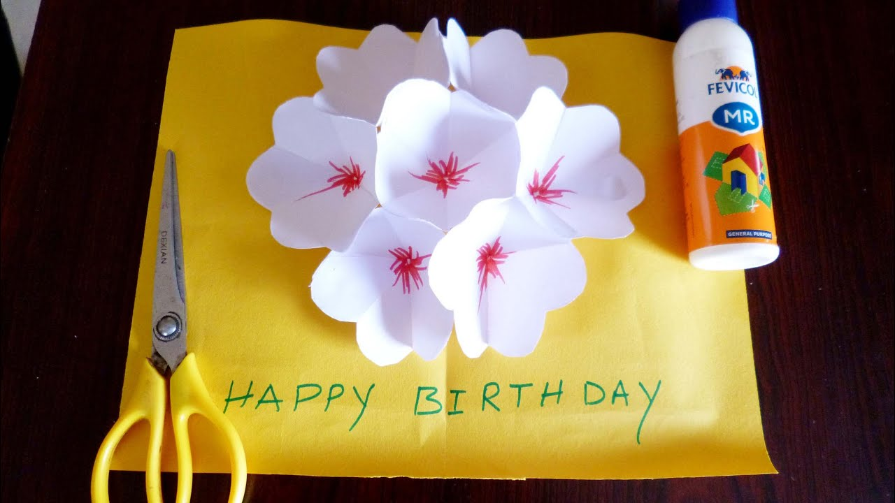 3d Flower Pop Up Greeting Card Making Paper Art Youtube