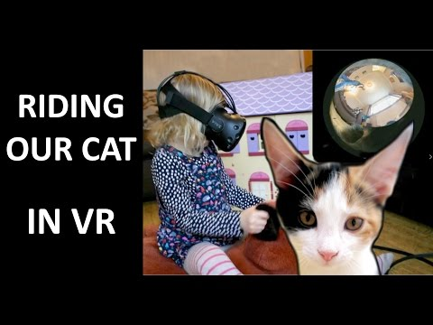 Daughter rides our cat in VR