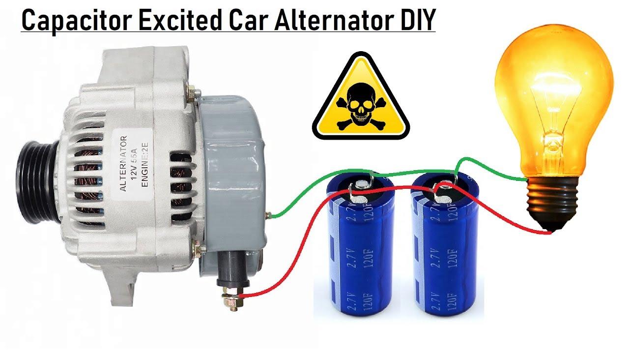 Self Excite A 12v Car Alternator With A Capacitor Bank Diy