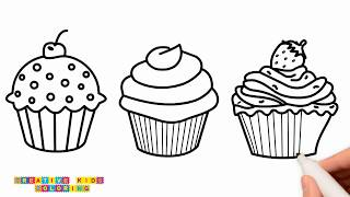 How to Draw Cupcake | Cupcake Daw & Coloring Page for Kids
