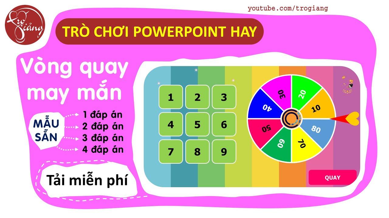 Trò chơi PowerPoint Vòng quay may mắn | Mẫu cho câu hỏi 1 đáp án | TRỢ GIẢNG #1