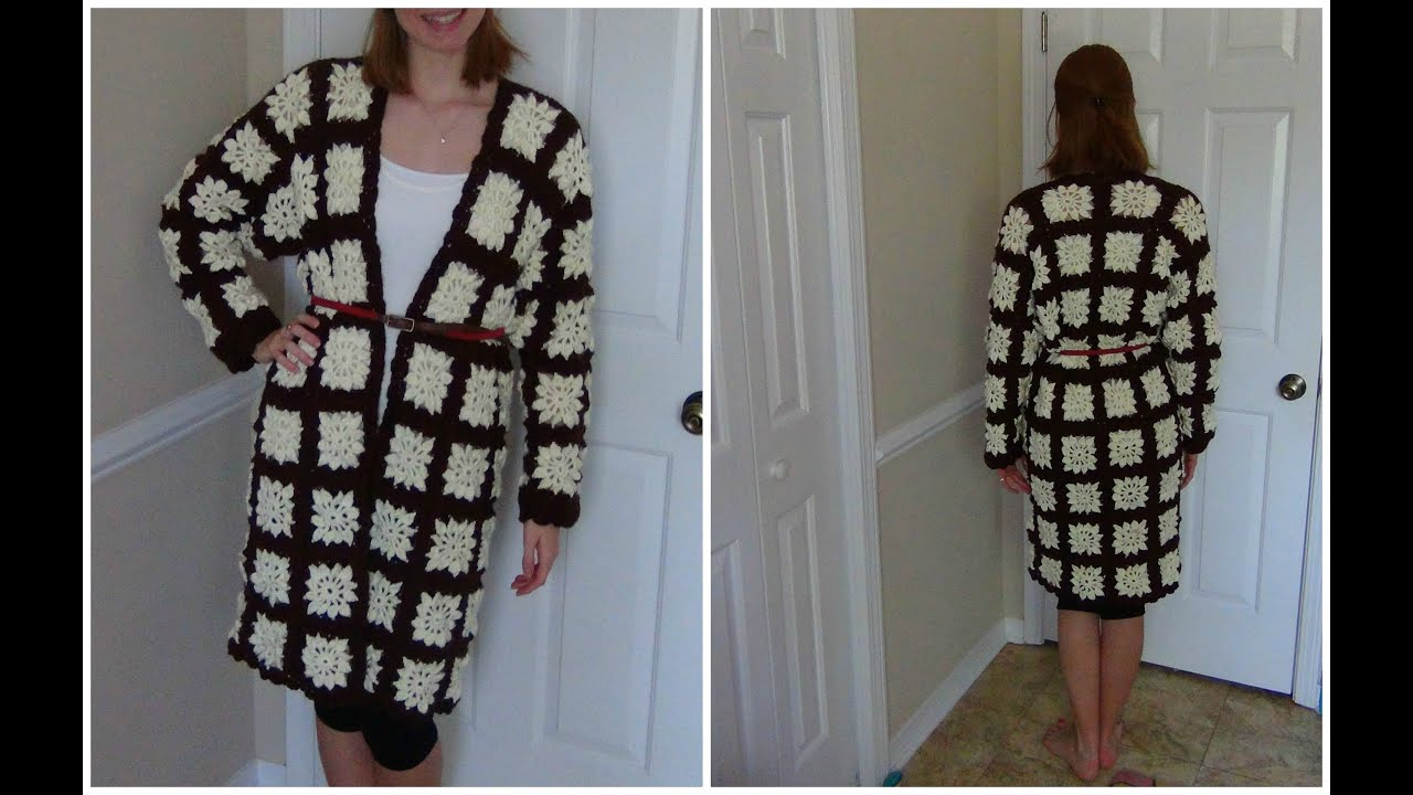 How to Crochet a Granny Square Jacket - YouTube