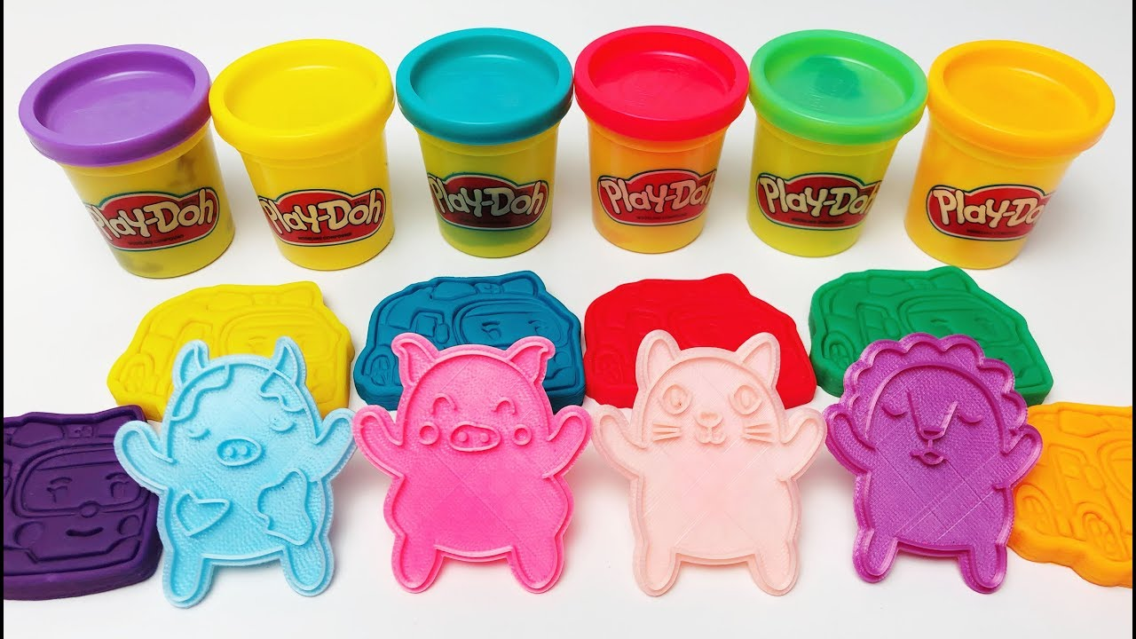 Learn Colors Play Doh Robocar Amber With 3d Animal's Molds, Lion, Bear, Cat, Pig, Cow, Rabbit