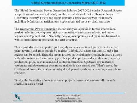 Global Geothermal Power Generation Market Research Report 2017