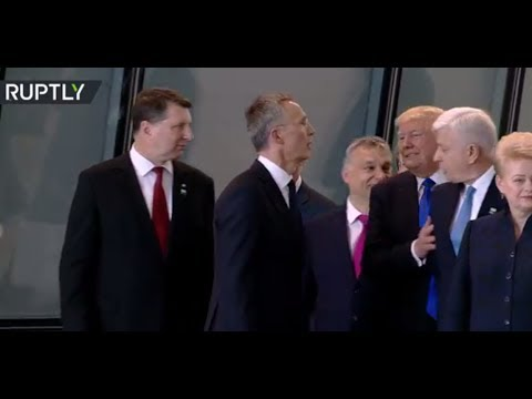 America First? Trump shoves aside Montenegro PM at NATO summit