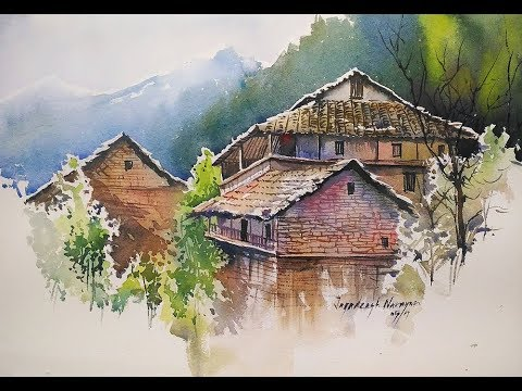 HIMALAYAN VILLAGE WATERCOLOR DEMONSTRATION BY JAGADEESH NARAYANAN