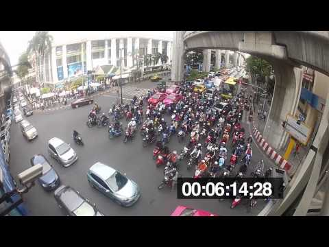 Traffic in Bangkok Thailand - waiting for the light to change