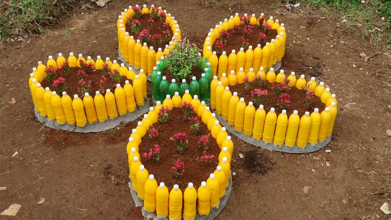 Smart reuse, Making Flower garden by reusing plastic bottles and cement