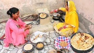 ALOO PRANTHA MADE BY PUNJABI VILLAGE WOMEN ❤VILLAGER LIFESTYLE OF PUNJAB/INDIA ❤RURAL LIFE OF PUNJAB