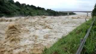 新潟豪雨 大河津分水河口
