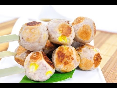 เผือกทิพย์ (ขนมไทย) Grilled Sweet Taro (Thai Dessert)