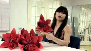 Repeat youtube video 3D Origami Flower for the Lot 8 Window