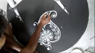 simple and easy alpona designs/kalka alpana designs/kolam with brush effects/rangoli with brush