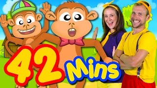 Five Little Monkeys and More! 42mins Kids Songs Collection Compilation | Bounce Patrol